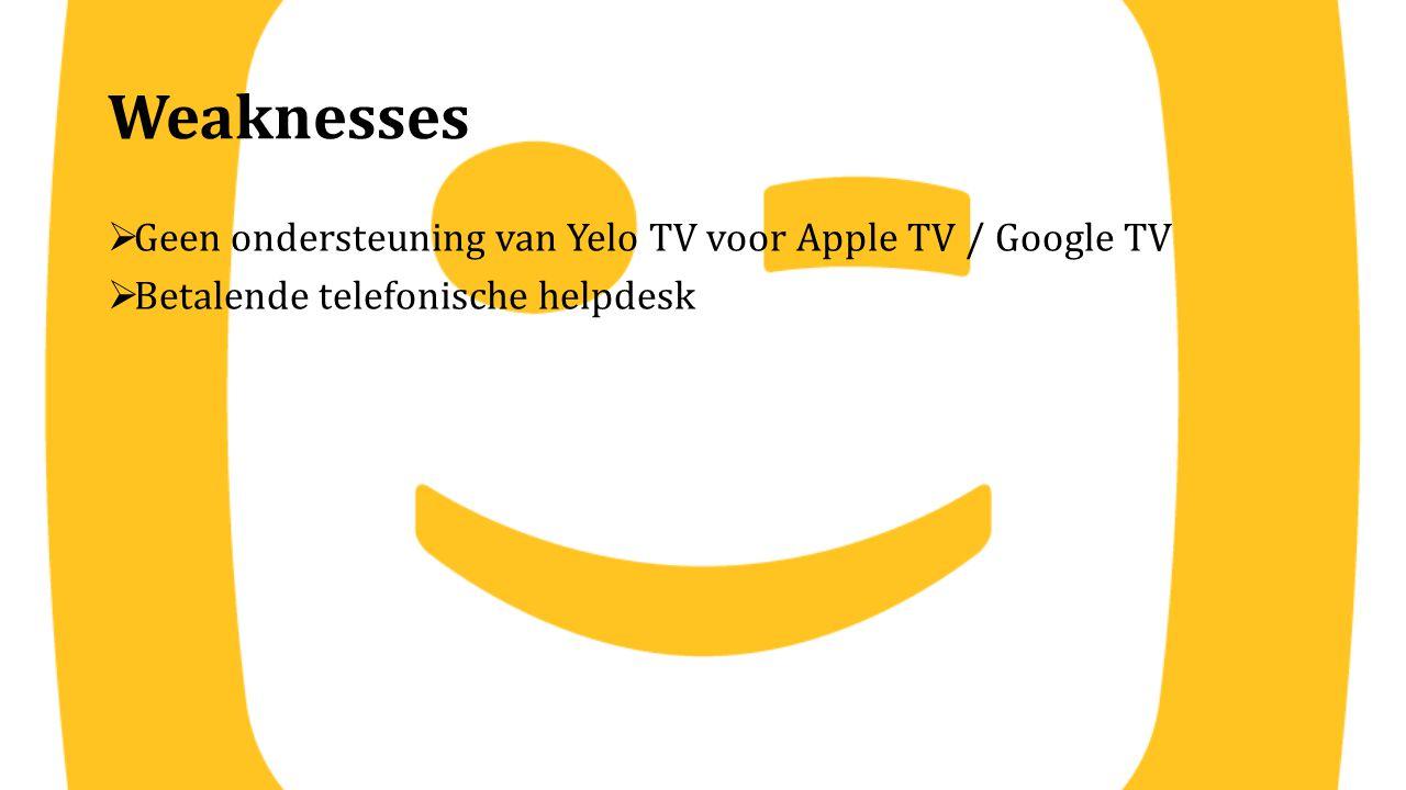 Weaknesses Geen ondersteuning van Yelo TV voor Apple TV / Google TV