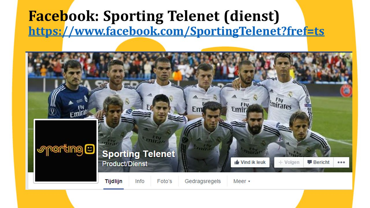 Facebook: Sporting Telenet (dienst) https://www. facebook