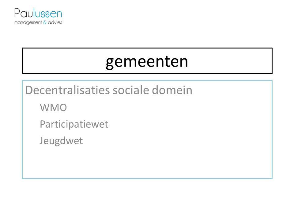 Decentralisaties sociale domein WMO Participatiewet Jeugdwet