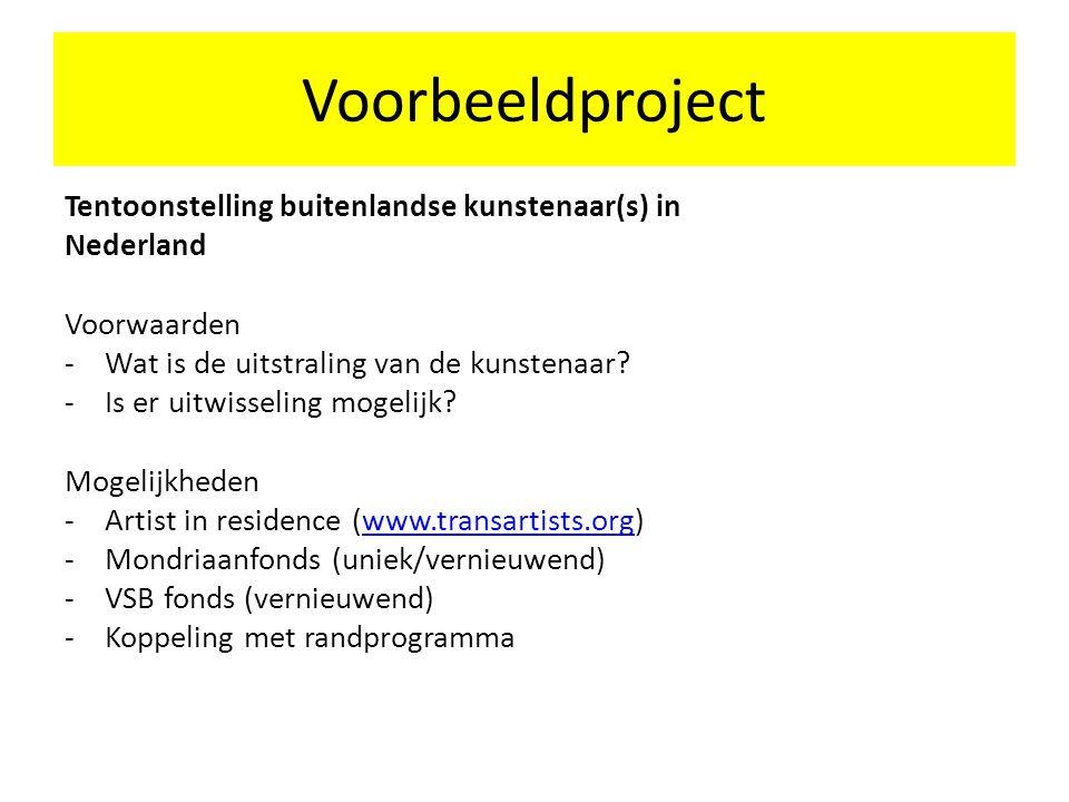 Voorbeeldproject Tentoonstelling buitenlandse kunstenaar(s) in