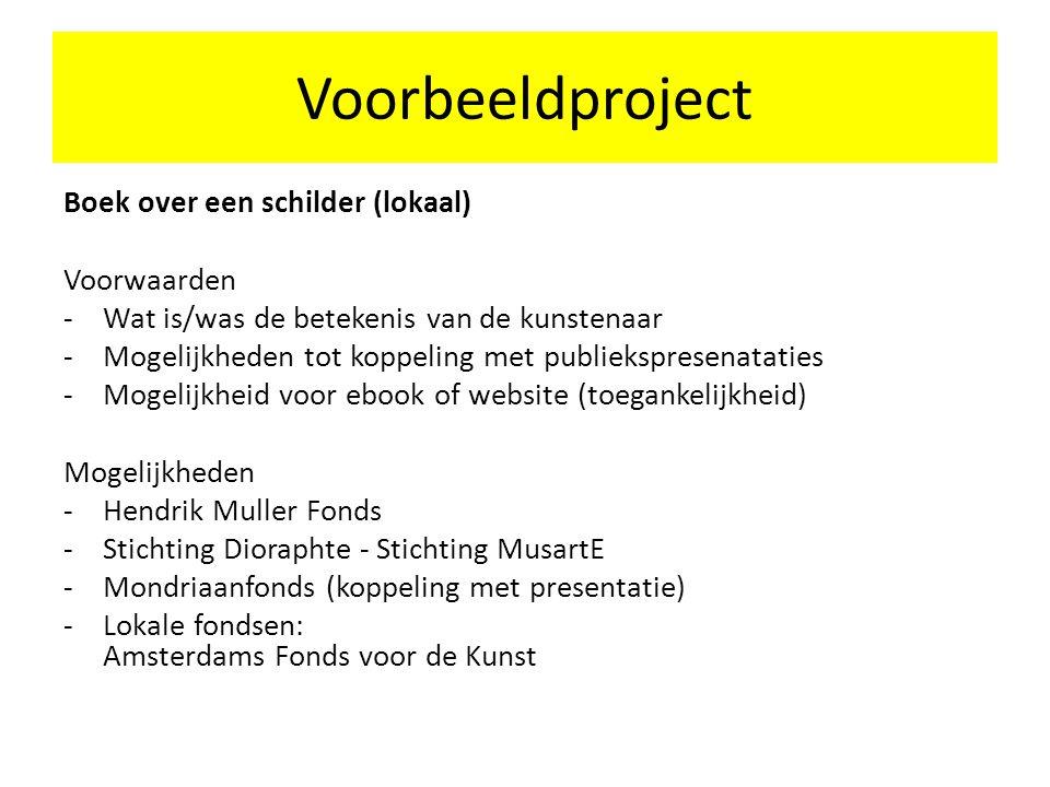 Voorbeeldproject Boek over een schilder (lokaal) Voorwaarden