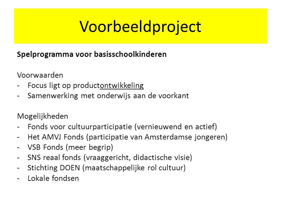 Voorbeeldproject Spelprogramma voor basisschoolkinderen Voorwaarden