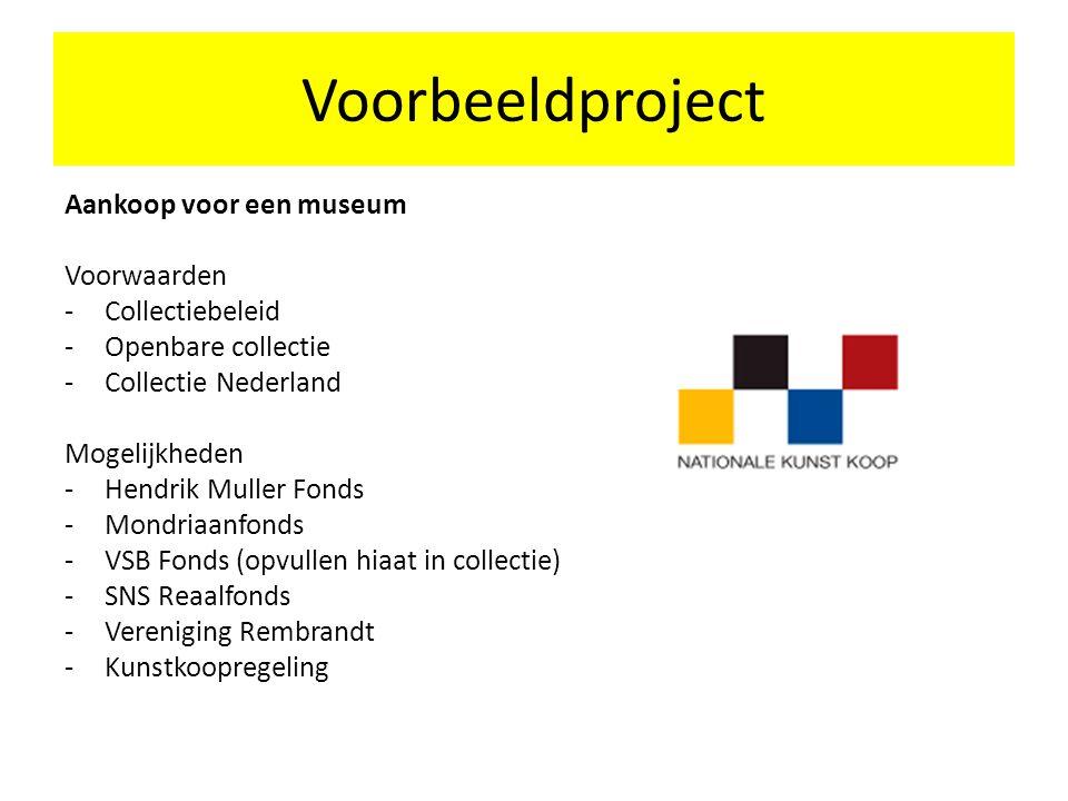 Voorbeeldproject Aankoop voor een museum Voorwaarden Collectiebeleid