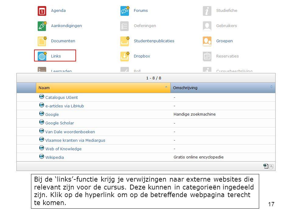 Bij de 'links'-functie krijg je verwijzingen naar externe websites die relevant zijn voor de cursus.