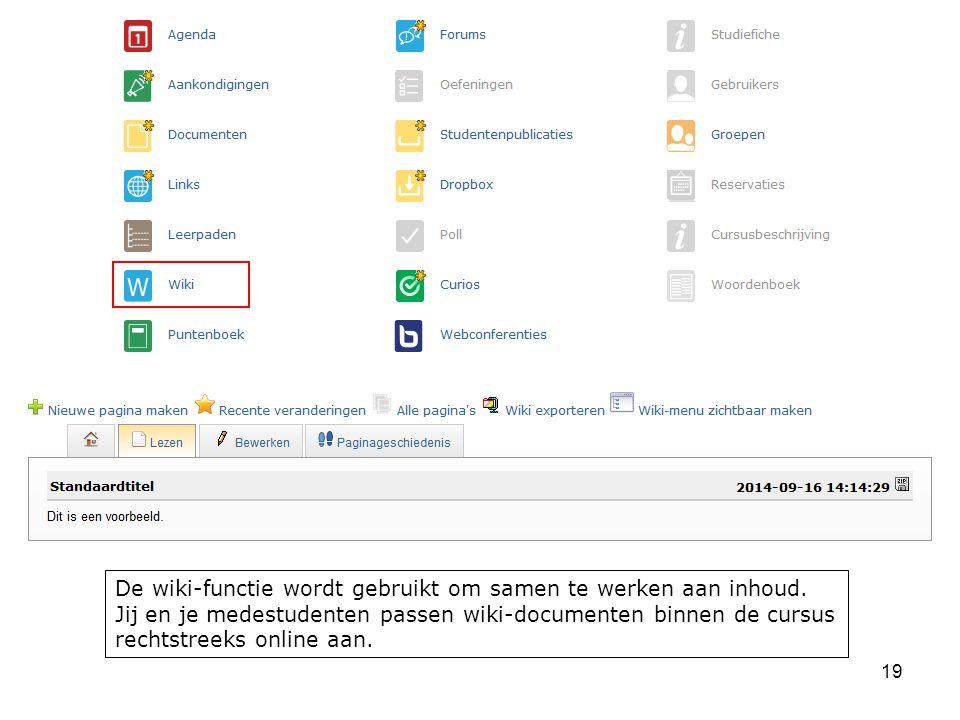 De wiki-functie wordt gebruikt om samen te werken aan inhoud.