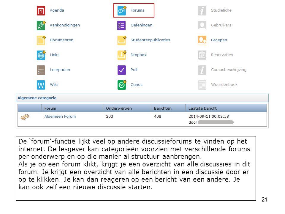 De 'forum'-functie lijkt veel op andere discussieforums te vinden op het internet.