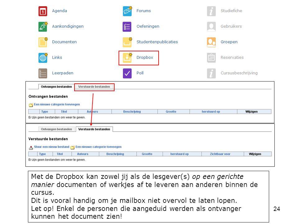 Met de Dropbox kan zowel jij als de lesgever(s) op een gerichte manier documenten of werkjes af te leveren aan anderen binnen de cursus.
