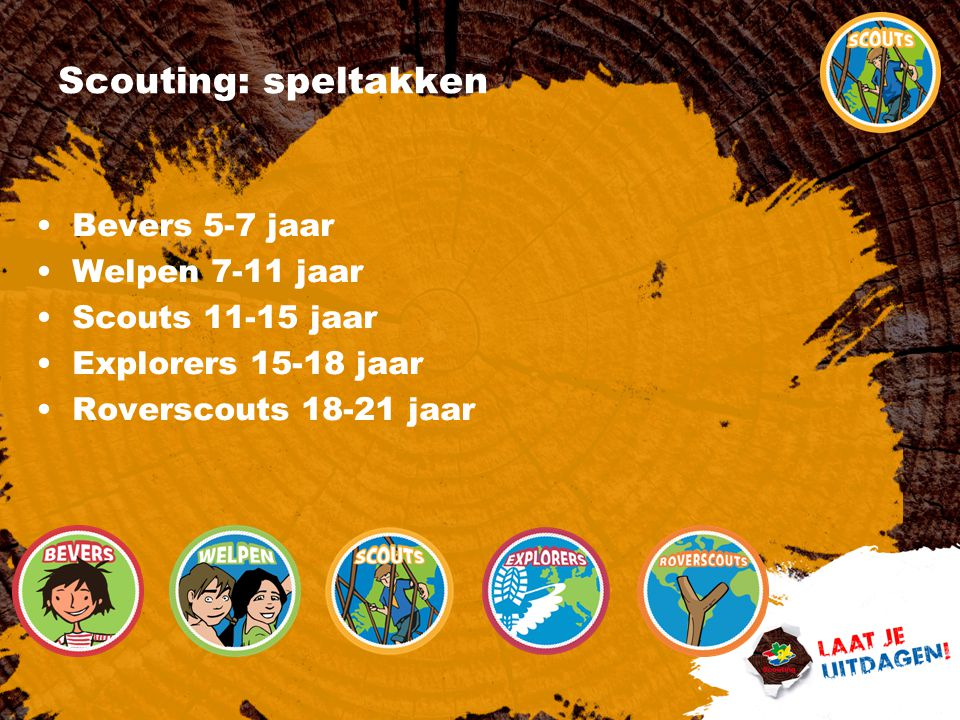 Scouting: speltakken Bevers 5-7 jaar Welpen 7-11 jaar