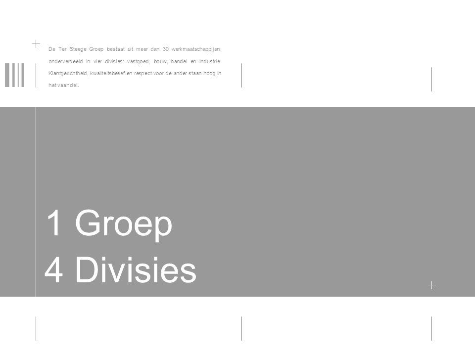 De Ter Steege Groep bestaat uit meer dan 30 werkmaatschappijen, onderverdeeld in vier divisies: vastgoed, bouw, handel en industrie. Klantgerichtheid, kwaliteitsbesef en respect voor de ander staan hoog in het vaandel.