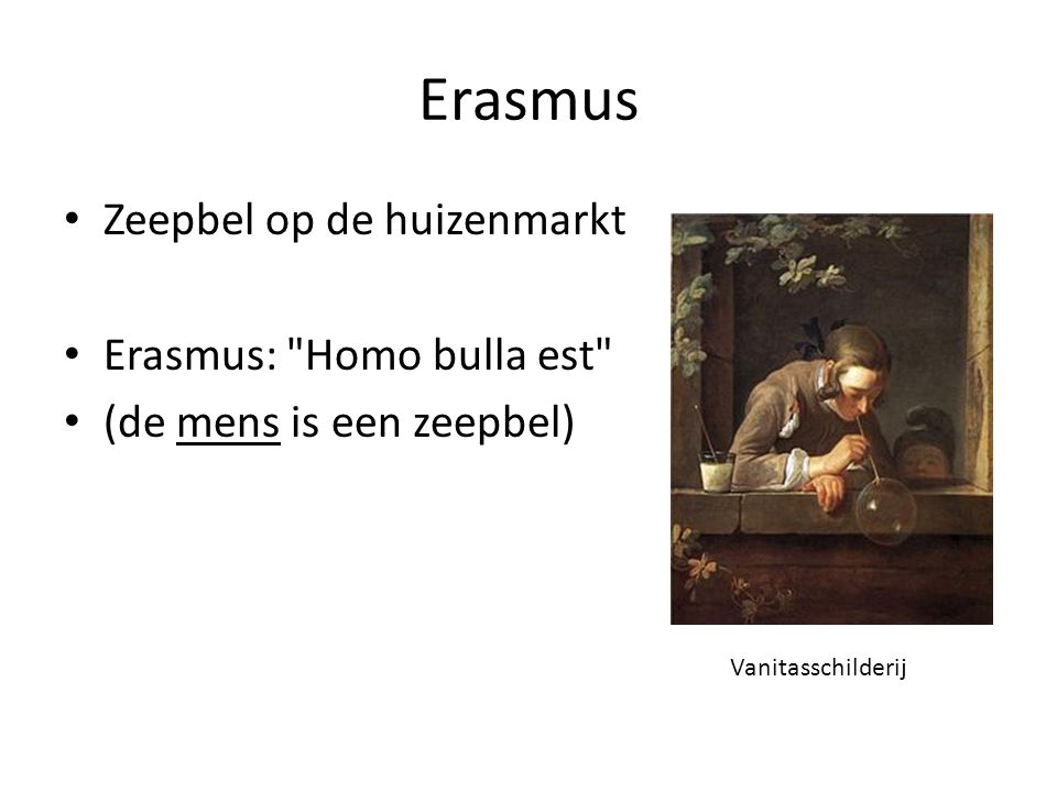 Erasmus Zeepbel op de huizenmarkt Erasmus: Homo bulla est