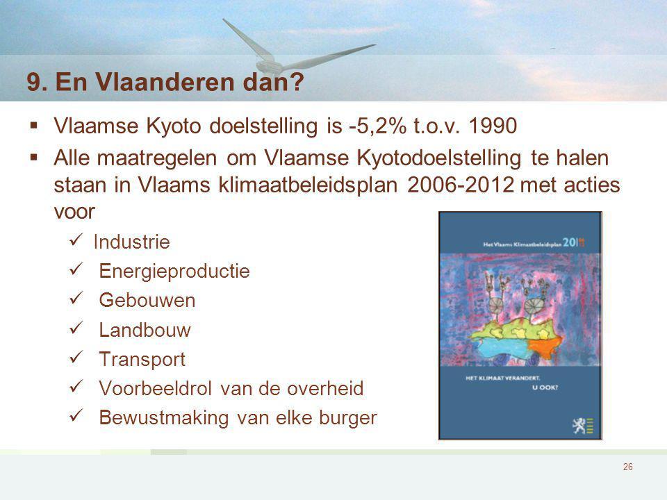 9. En Vlaanderen dan Vlaamse Kyoto doelstelling is -5,2% t.o.v. 1990