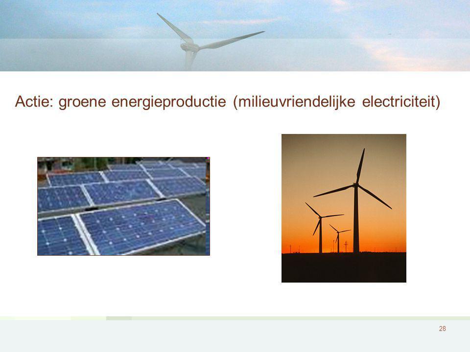 Actie: groene energieproductie (milieuvriendelijke electriciteit)