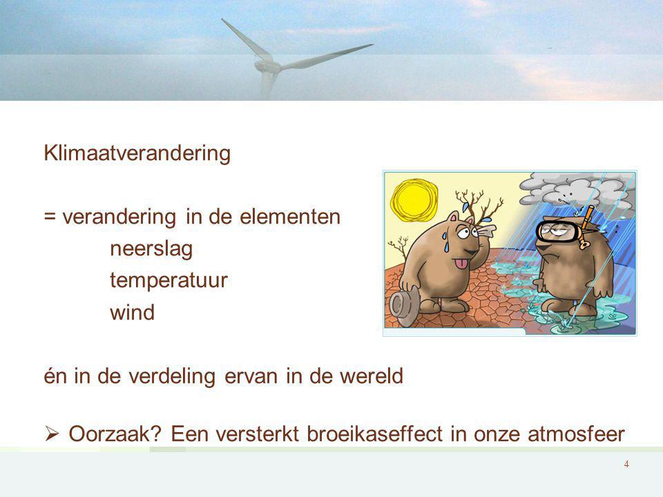 Klimaatverandering = verandering in de elementen. neerslag. temperatuur. wind. én in de verdeling ervan in de wereld.