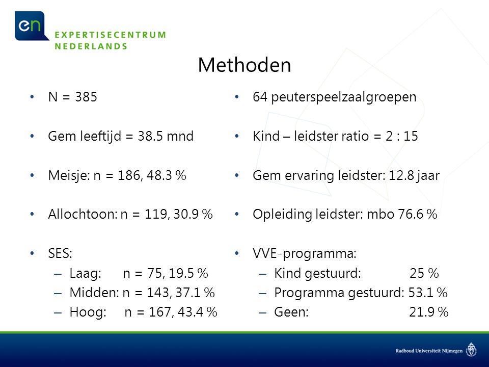 Methoden N = 385 Gem leeftijd = 38.5 mnd Meisje: n = 186, 48.3 %