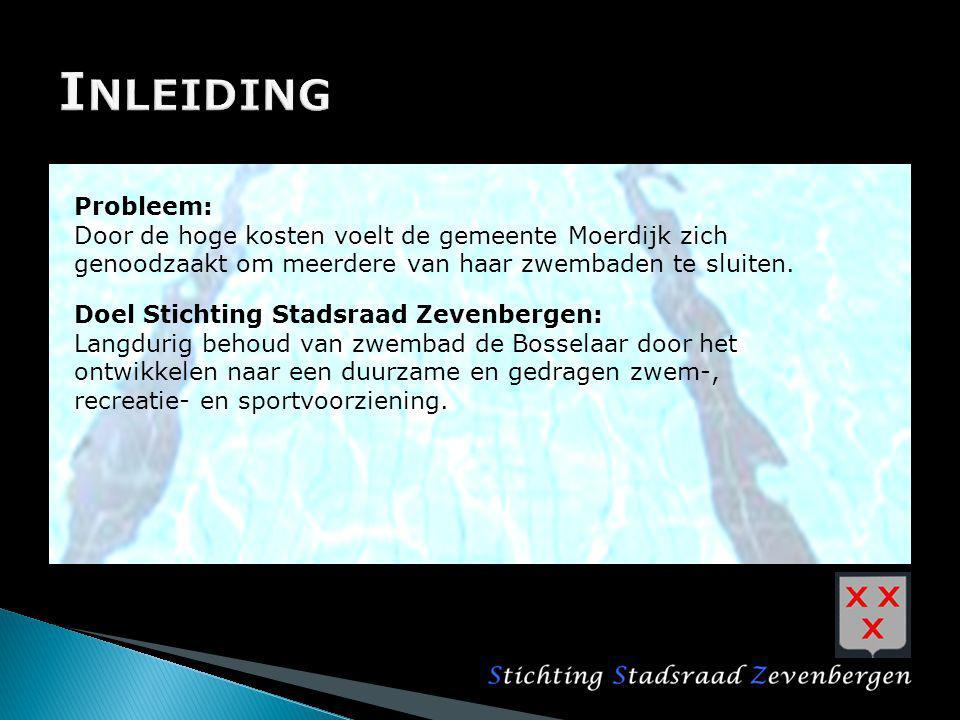 Inleiding Probleem: Door de hoge kosten voelt de gemeente Moerdijk zich genoodzaakt om meerdere van haar zwembaden te sluiten.