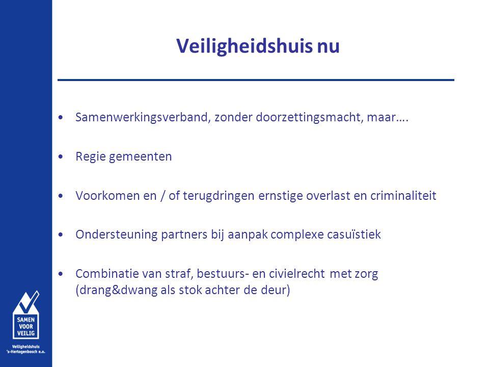 Veiligheidshuis nu Samenwerkingsverband, zonder doorzettingsmacht, maar…. Regie gemeenten.