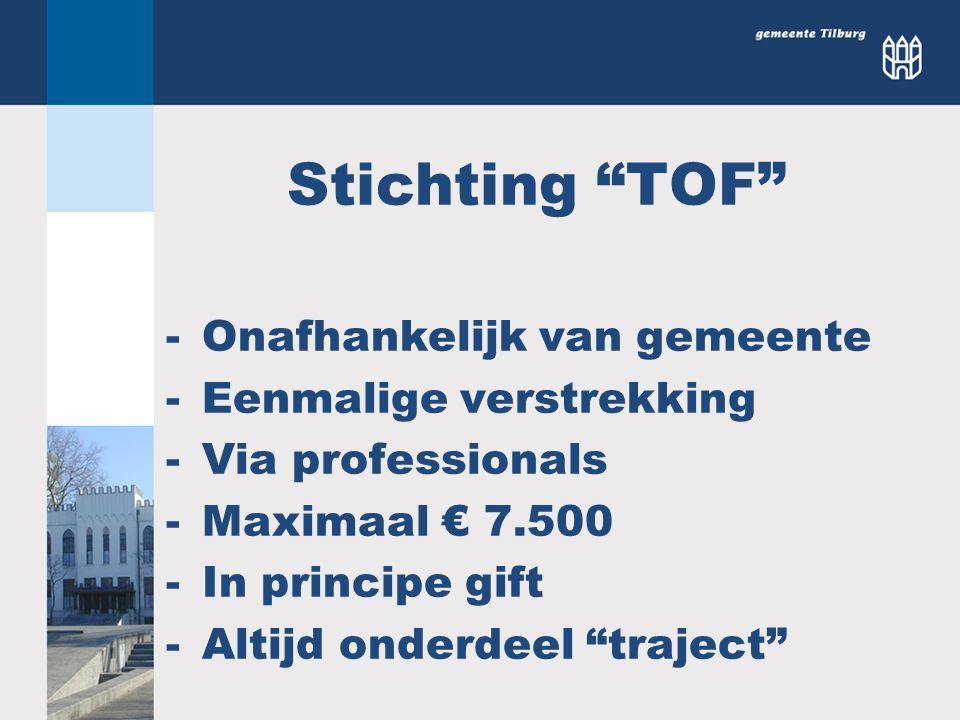 Stichting TOF Onafhankelijk van gemeente Eenmalige verstrekking