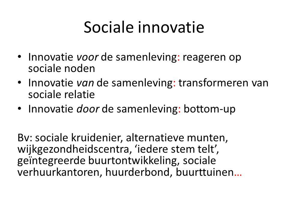 Sociale innovatie Innovatie voor de samenleving: reageren op sociale noden. Innovatie van de samenleving: transformeren van sociale relatie.