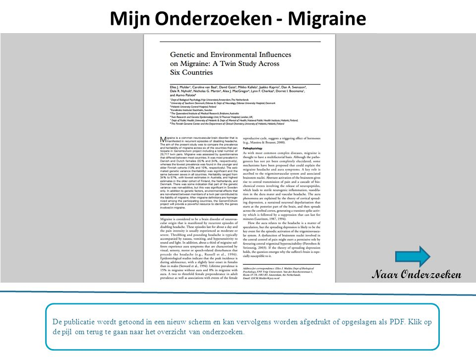 Mijn Onderzoeken - Migraine
