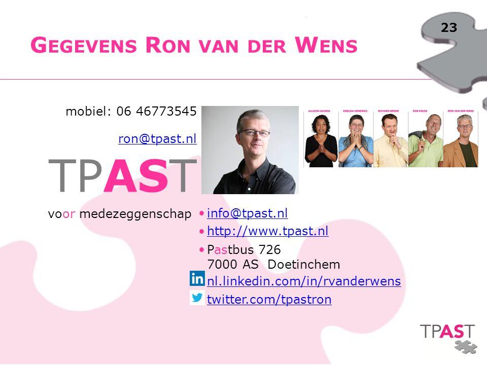 Gegevens Ron van der Wens