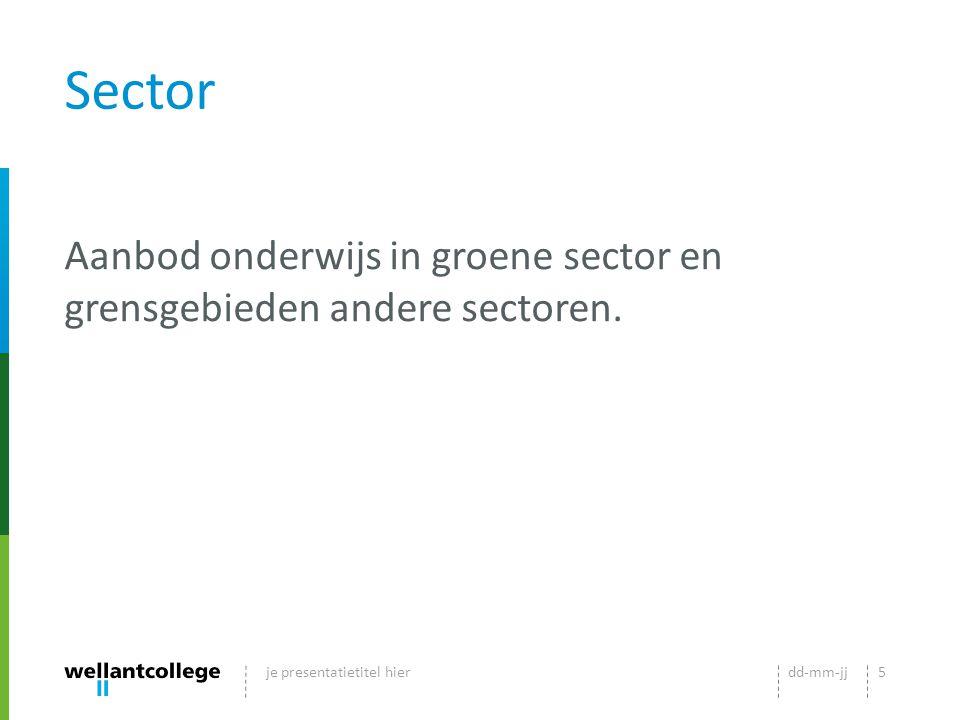 Sector Aanbod onderwijs in groene sector en grensgebieden andere sectoren. je presentatietitel hier.