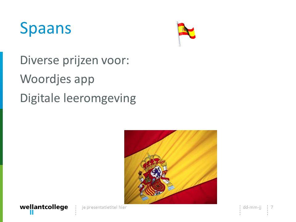 Spaans Diverse prijzen voor: Woordjes app Digitale leeromgeving