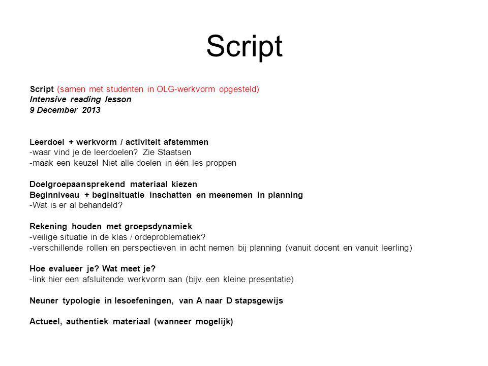 Script Script (samen met studenten in OLG-werkvorm opgesteld)