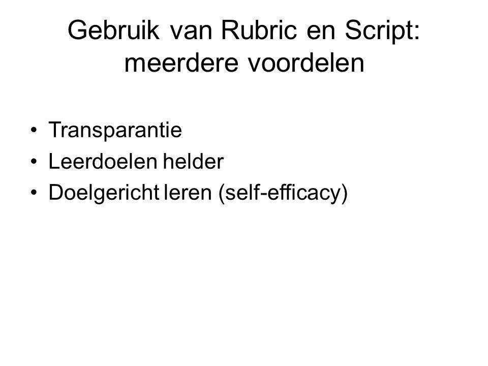 Gebruik van Rubric en Script: meerdere voordelen