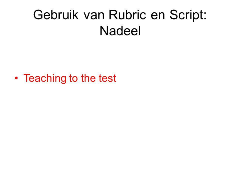 Gebruik van Rubric en Script: Nadeel