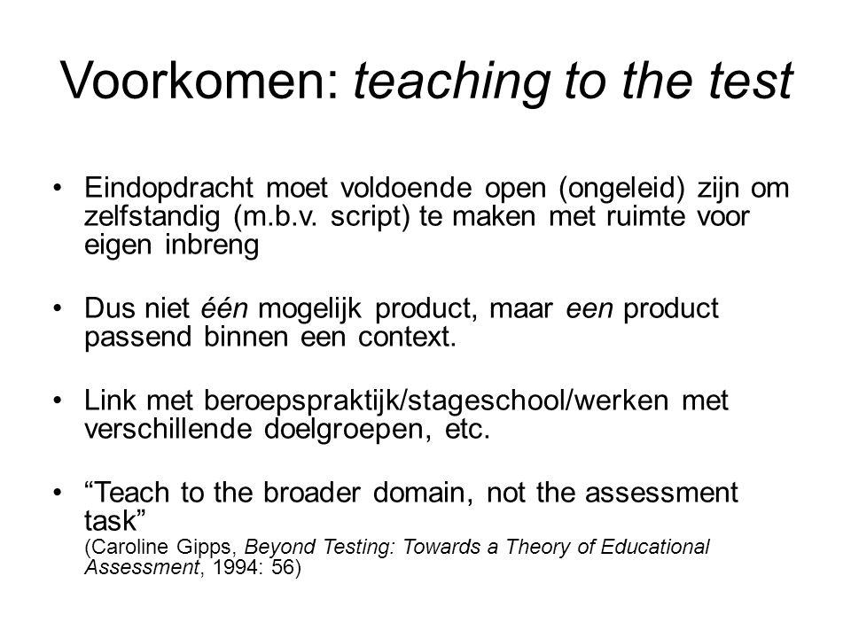 Voorkomen: teaching to the test