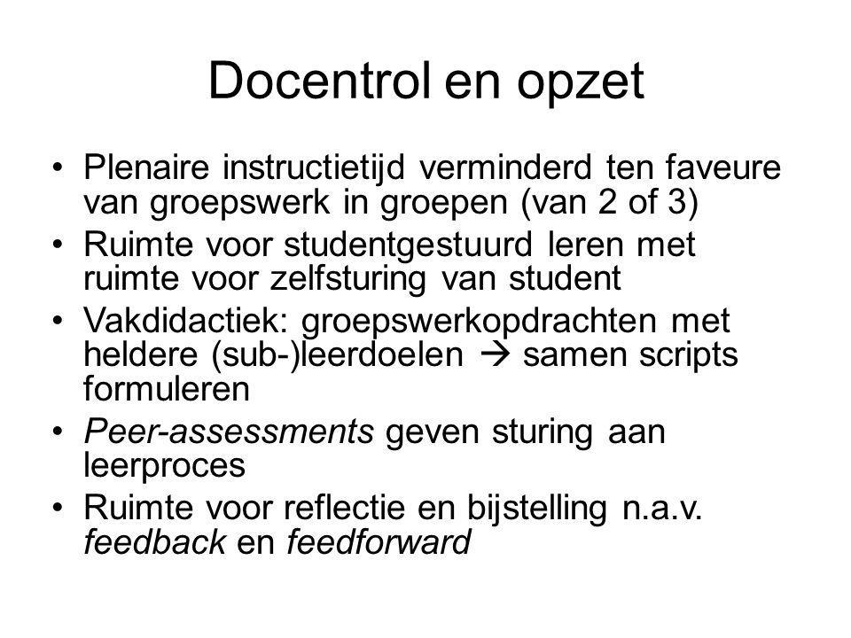 Docentrol en opzet Plenaire instructietijd verminderd ten faveure van groepswerk in groepen (van 2 of 3)