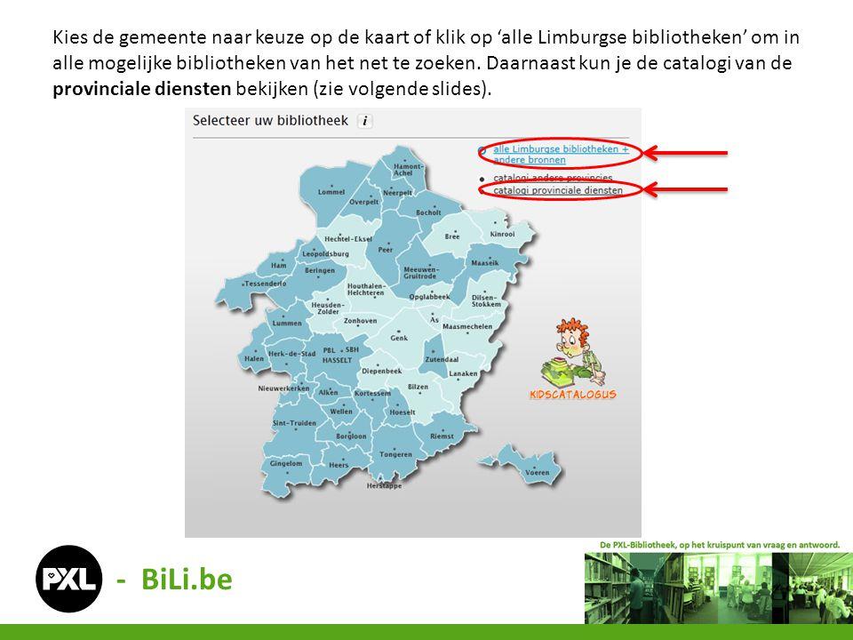 Kies de gemeente naar keuze op de kaart of klik op 'alle Limburgse bibliotheken' om in alle mogelijke bibliotheken van het net te zoeken. Daarnaast kun je de catalogi van de provinciale diensten bekijken (zie volgende slides).