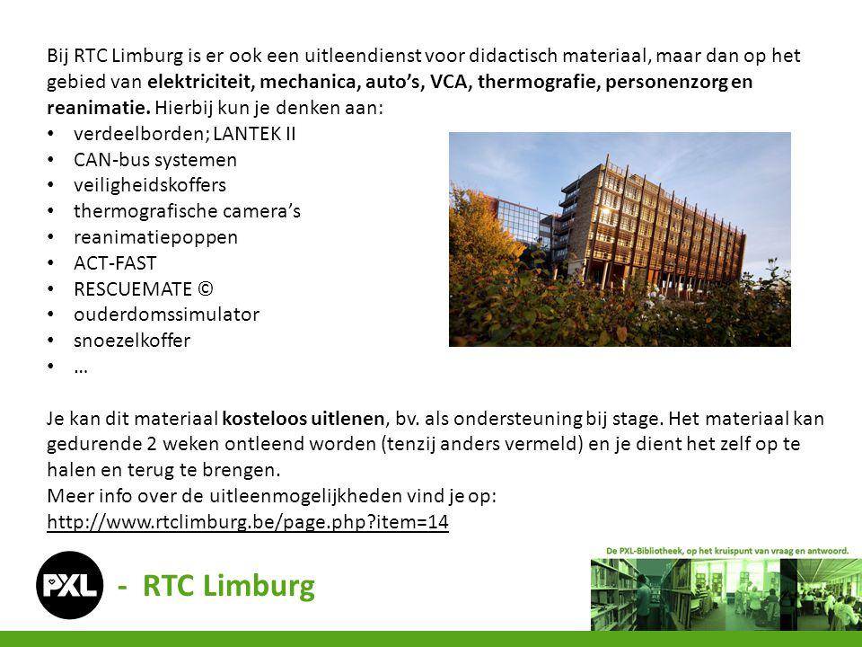 Bij RTC Limburg is er ook een uitleendienst voor didactisch materiaal, maar dan op het gebied van elektriciteit, mechanica, auto's, VCA, thermografie, personenzorg en reanimatie. Hierbij kun je denken aan: