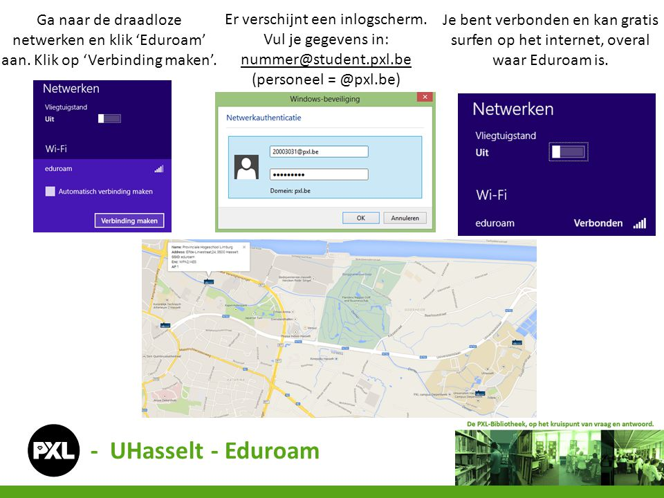 Ga naar de draadloze netwerken en klik 'Eduroam' aan