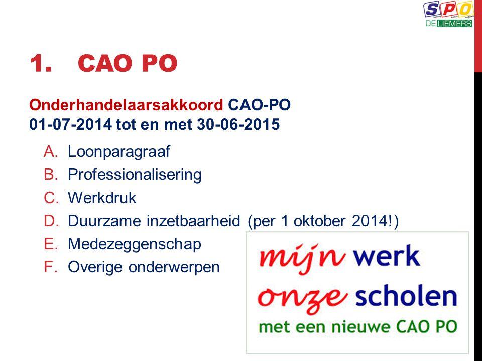 1. cao PO Onderhandelaarsakkoord CAO-PO 01-07-2014 tot en met 30-06-2015. Loonparagraaf. Professionalisering.