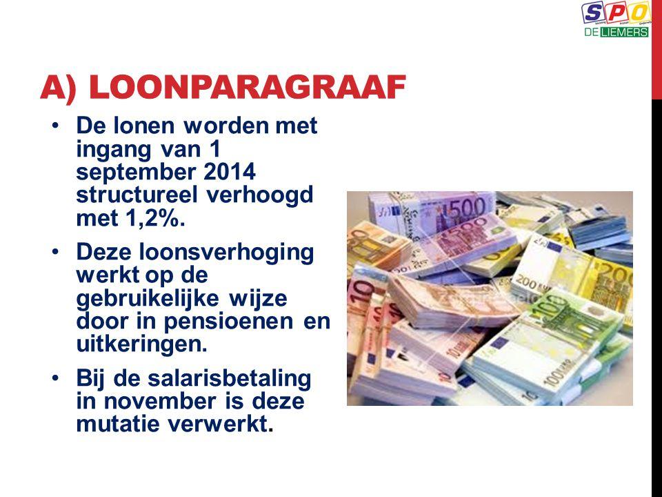 a) Loonparagraaf De lonen worden met ingang van 1 september 2014 structureel verhoogd met 1,2%.