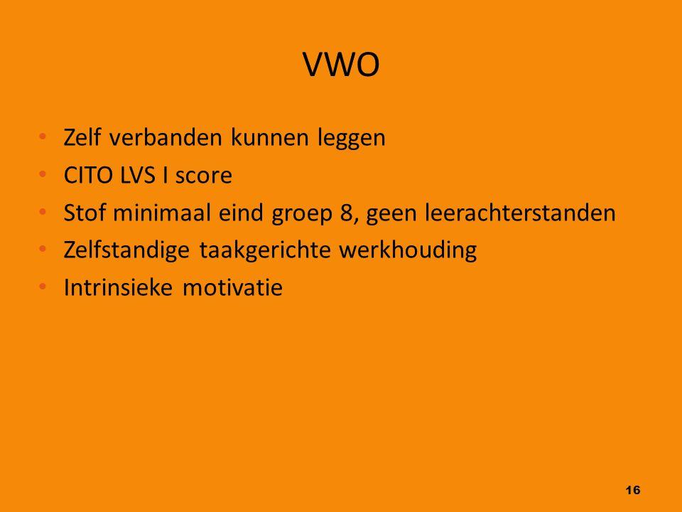 VWO Zelf verbanden kunnen leggen CITO LVS I score