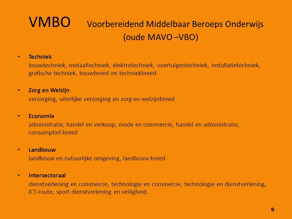 VMBO Voorbereidend Middelbaar Beroeps Onderwijs (oude MAVO –VBO)
