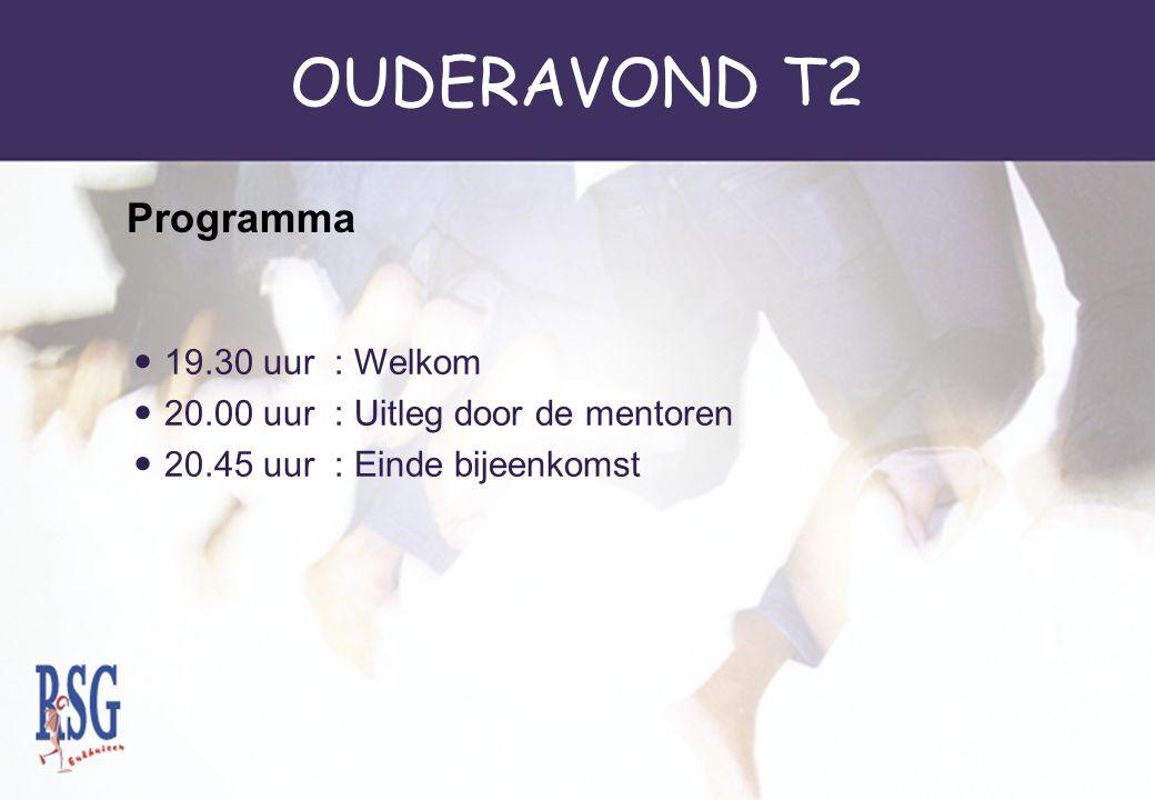 OUDERAVOND T2 Programma 19.30 uur : Welkom