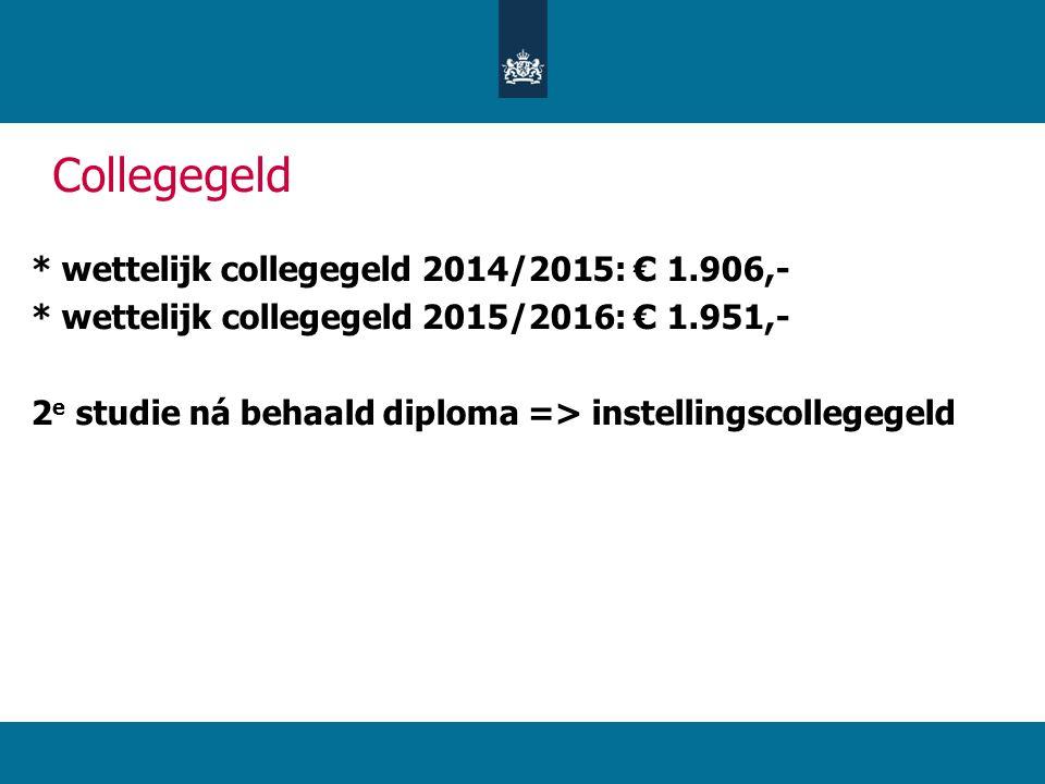 Collegegeld * wettelijk collegegeld 2014/2015: € 1.906,-