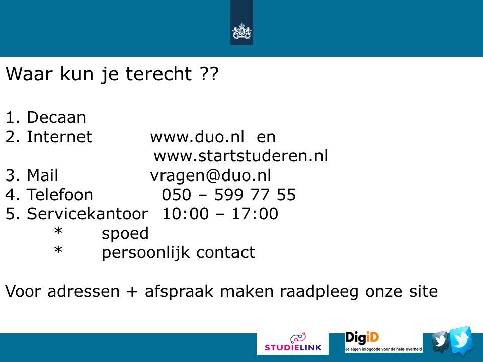 Waar kun je terecht Decaan Internet www.duo.nl en
