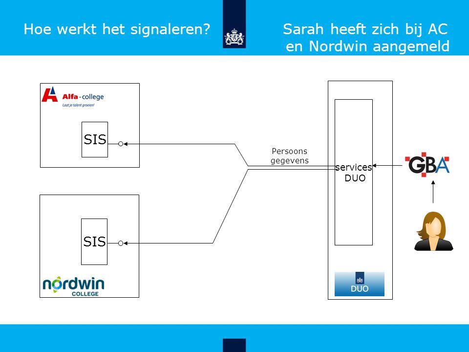 Hoe werkt het signaleren Sarah heeft zich bij AC en Nordwin aangemeld