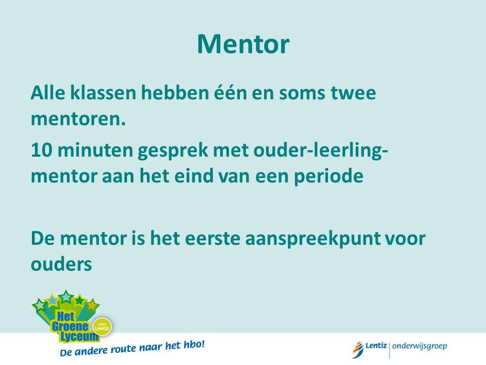 Mentor Alle klassen hebben één en soms twee mentoren.