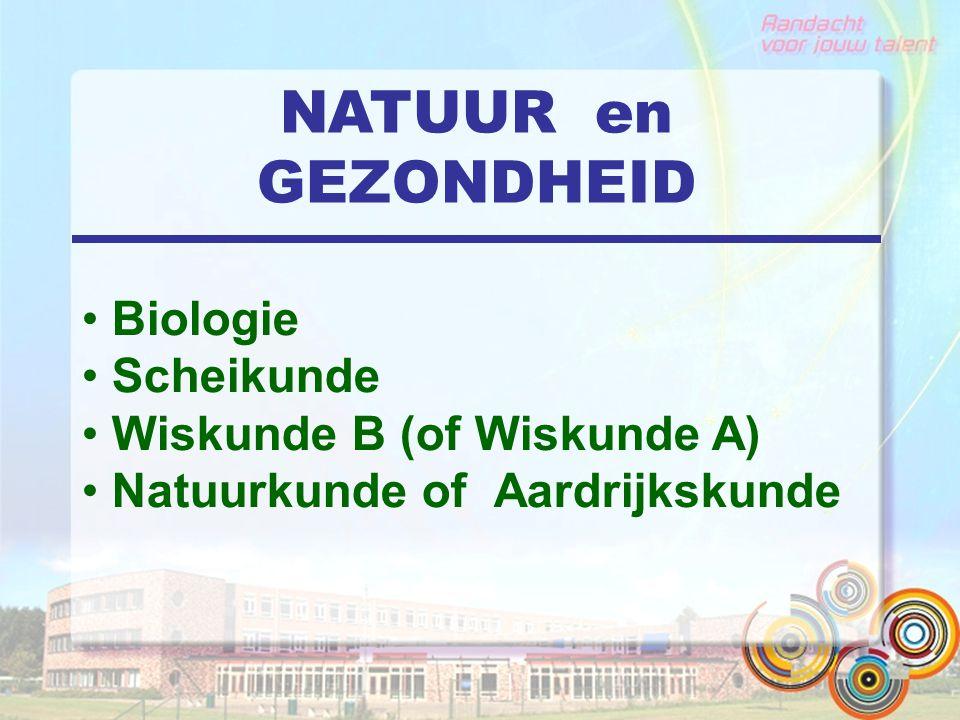 NATUUR en GEZONDHEID Biologie Scheikunde Wiskunde B (of Wiskunde A)