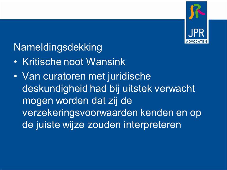 Nameldingsdekking Kritische noot Wansink.