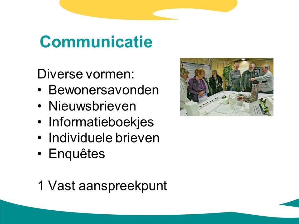 Communicatie Diverse vormen: Bewonersavonden Nieuwsbrieven