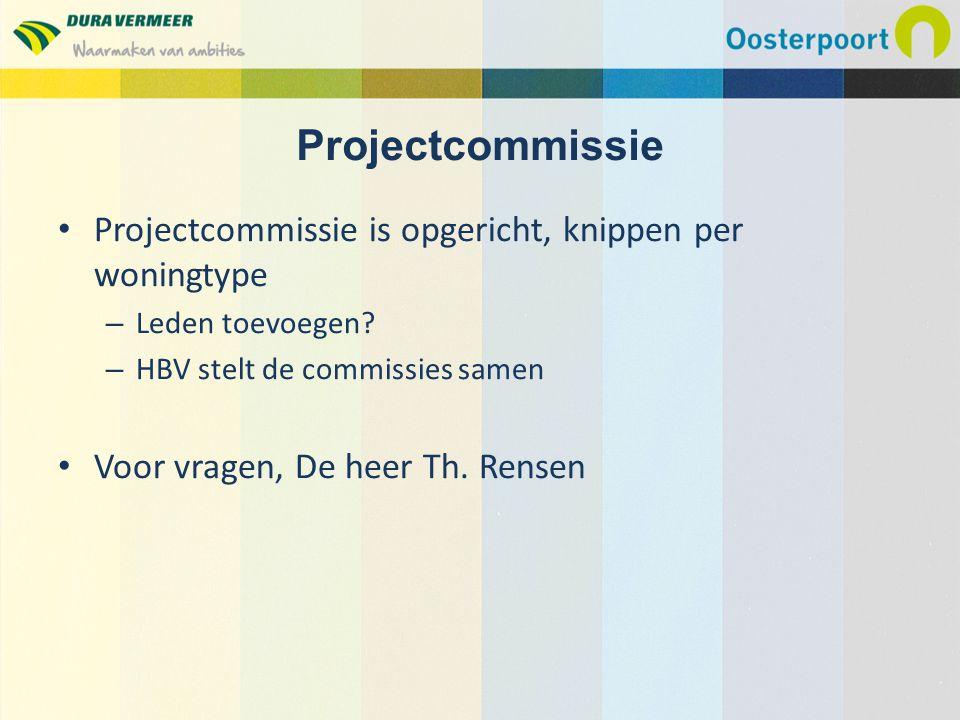 Projectcommissie Projectcommissie is opgericht, knippen per woningtype