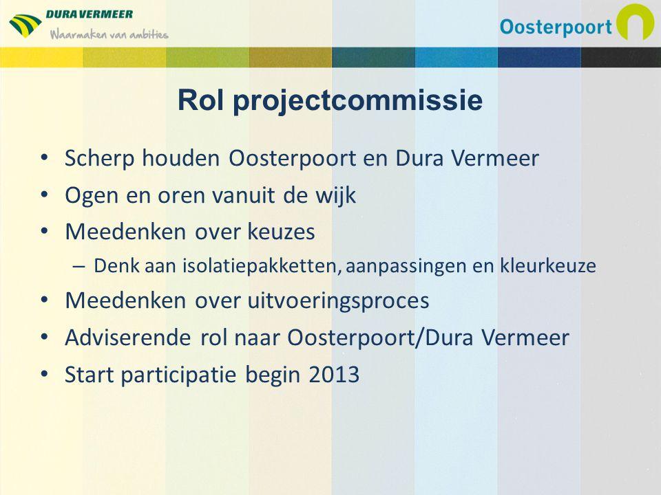 Rol projectcommissie Scherp houden Oosterpoort en Dura Vermeer