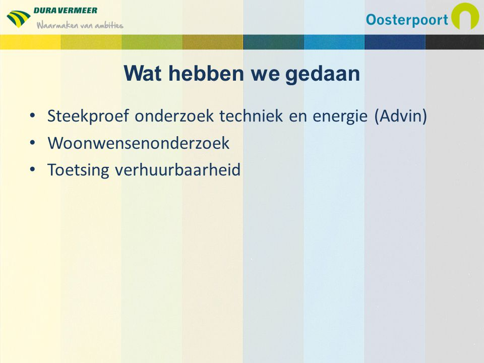 Wat hebben we gedaan Steekproef onderzoek techniek en energie (Advin)
