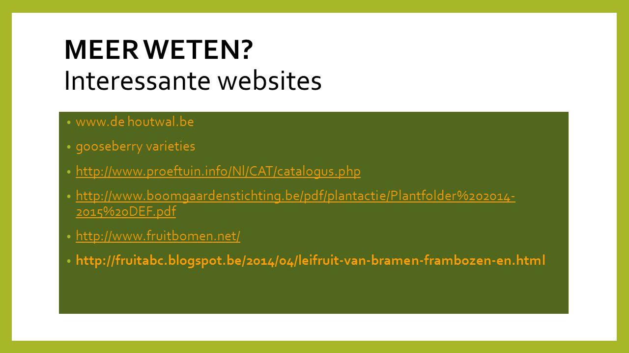 MEER WETEN Interessante websites